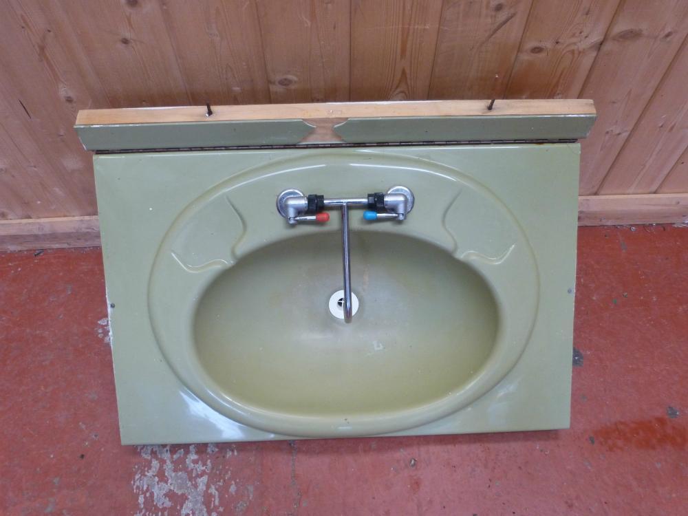 Caravan Motorhome Conversion Green Bathroom Fold Down Sink