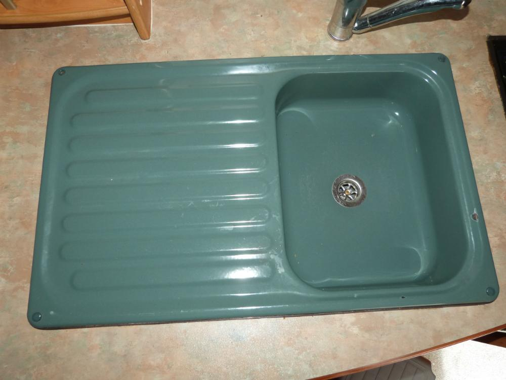 Green kitchen enamel sink drainer caravan motorhome boats conversion sinks at national caravan - Caravan kitchen sink ...