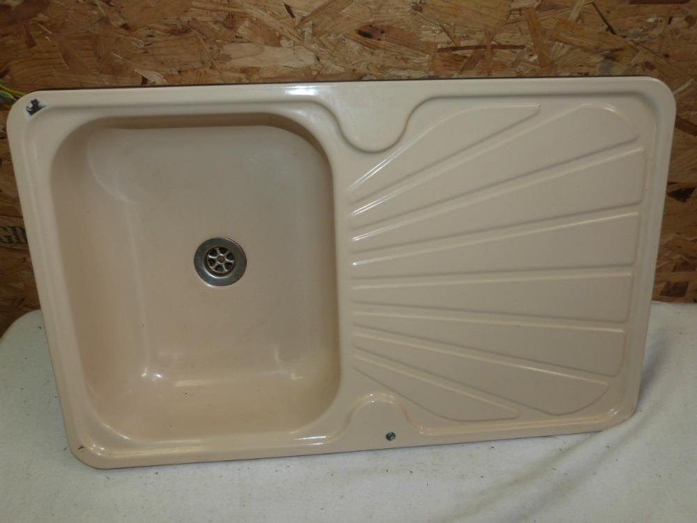 Kitchen cream enamel sink drainer caravan motorhome boat conversion ref chall2 sinks at - Caravan kitchen sink ...