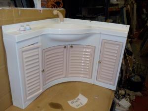Caravan Motorhome Boat Conversion Plastic Bathroom Sink Unit with Taps and Doors image 1