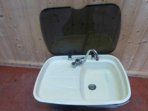 Caravan Motorhome  White SPINFLO  Kitchen Sink Tap Drainer Combo REF DONCFLE image 1