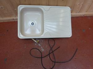 Kitchen Cream Enamel Sink + Drainer Caravan Motorhome Boat Conversion REF CONWY image 1
