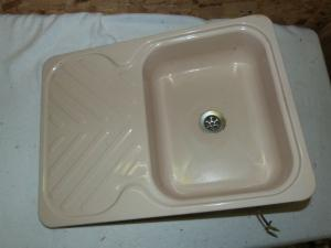 Kitchen Cream Enamel Sink + Drainer Caravan Motorhome Boats Conversion image 1