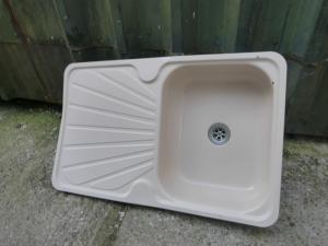 Kitchen Cream Enamel Sink +Drainer Caravan Motorhome Boats Conversion REF:CONWY1 image 1